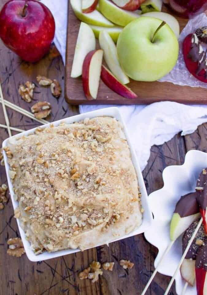 Overhead Caramel Apple Cheesecake Dip