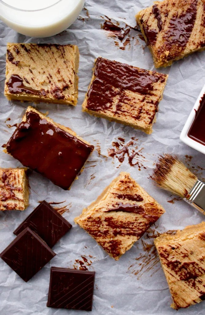 Peanut Butter Blondie Bars--brushed with dark chocolate