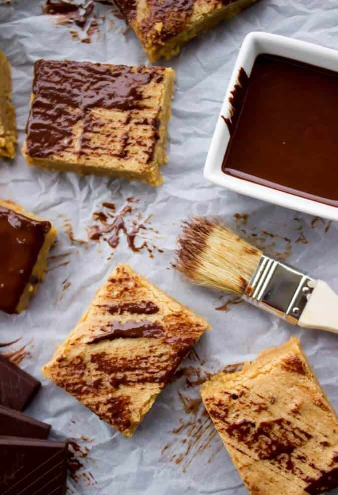 Easy Peanut Butter Blondie Bars--brushed with dark chocolate