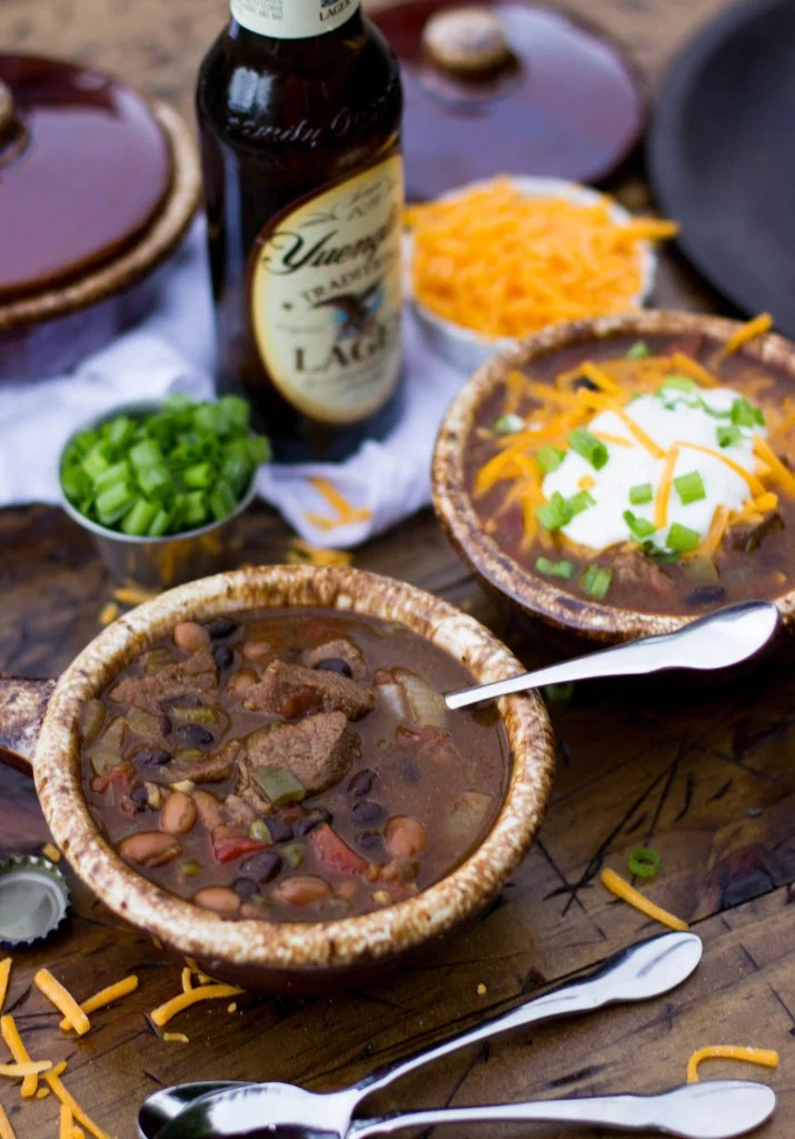 Beer Steak Chili in crock