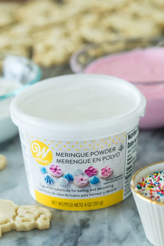 Meringue powder, used to make royal icing for animal cookies