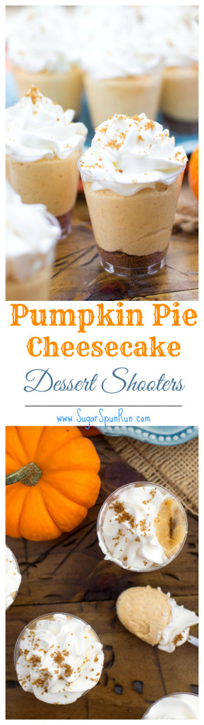 No bake pumpkin pie cheesecake dessert shooters, a great, unique Thanksgiving treat SugarSpunRun