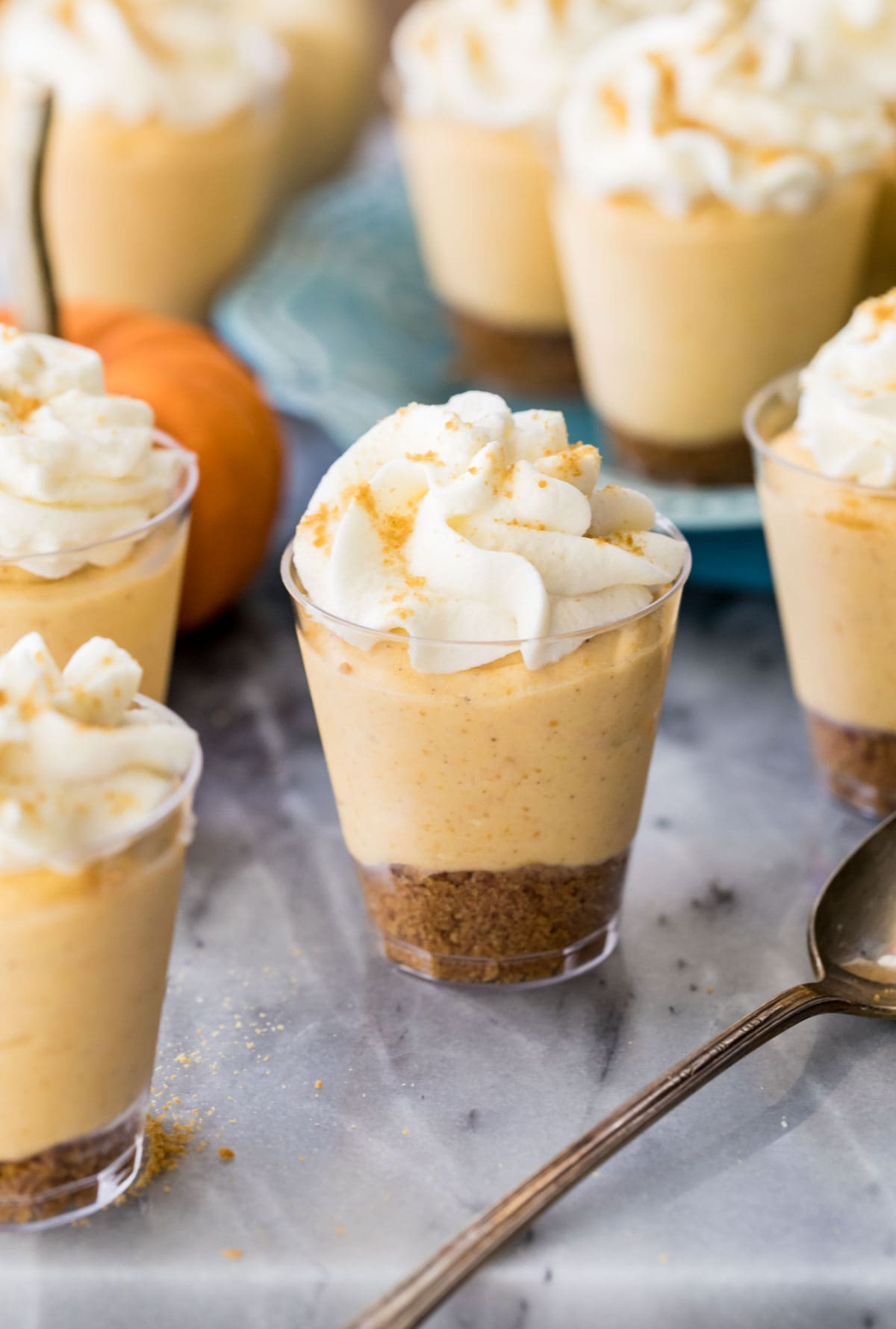 Mini pumpkin pie cheesecakes on marble board