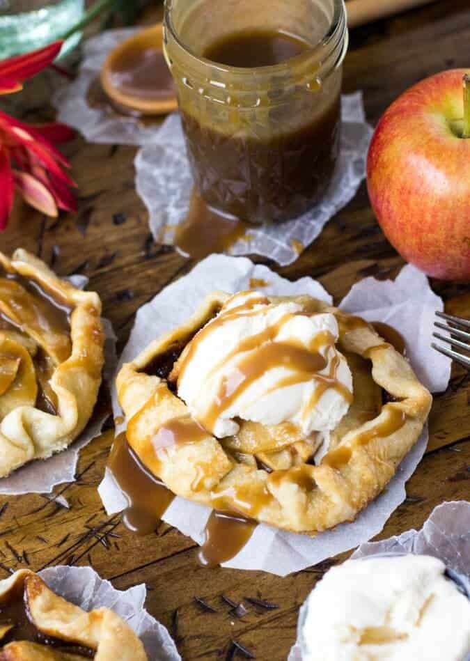 apple galette with ice cream and caramel