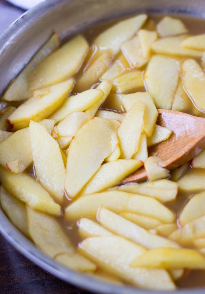 cooking apples in saucepan