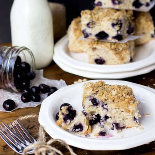 blueberry breakfast cake on white plate