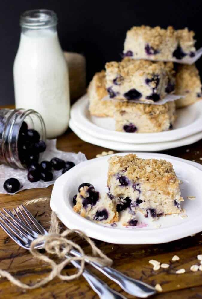 slice of blueberry breakfast cake on white plate