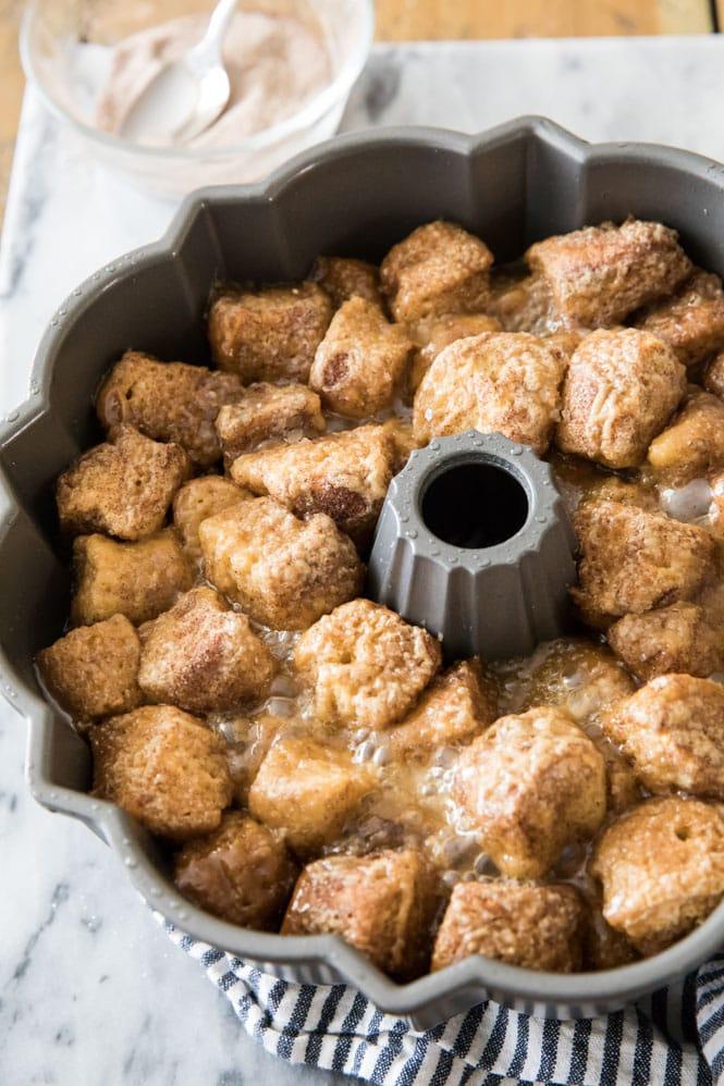 Monkey bread baked in bundt pan before being inverted