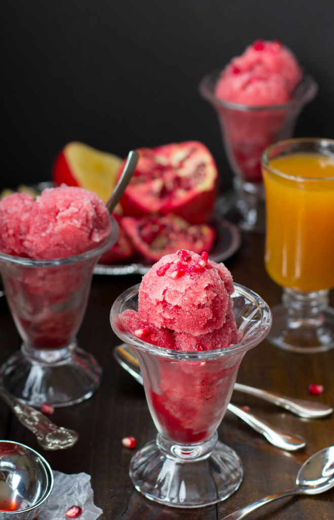 Pomegranate Apple Cider Sorbet || SugarSpunRun.com