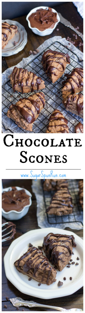 Chocolate Scones with a chocolate glaze... so good, even the next day! SugarSpunRun