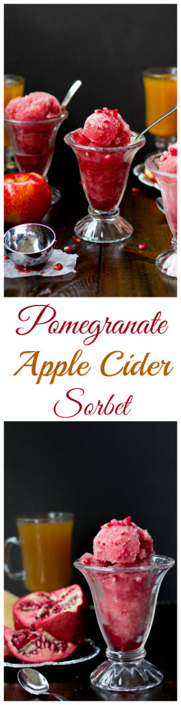 Pomegranate Apple Cider Sorbet -- would make a great Thanksgiving dessert! SugarSpunRun.com