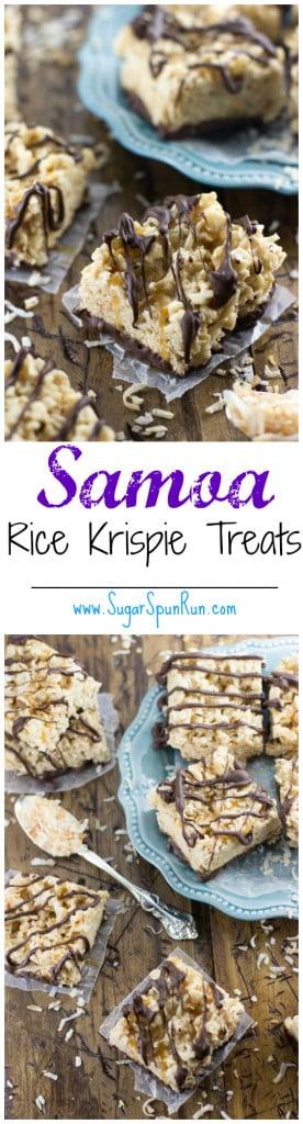 Samoa cookie-inspired rice krispie treats -- SugarSpunRun.com