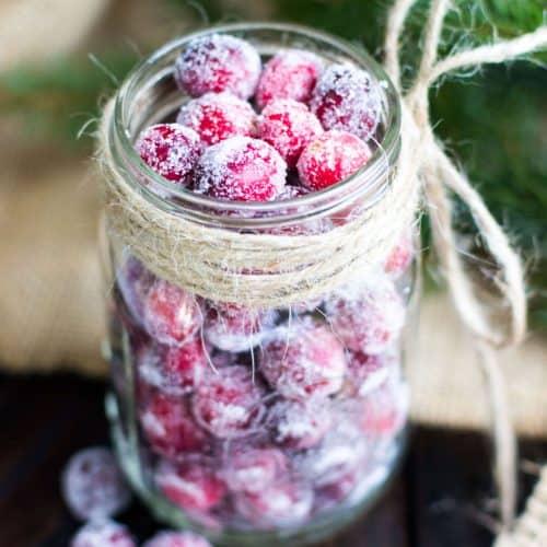 Cranberries in a glass jar