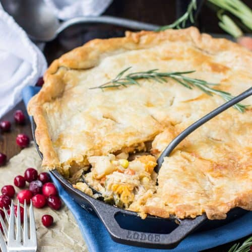 Turkey pot pie in a skillet