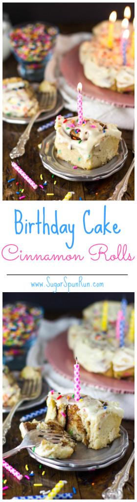 Funfetti Birthday Cake Cinnamon Rolls -- www.SugarSpunRun.com