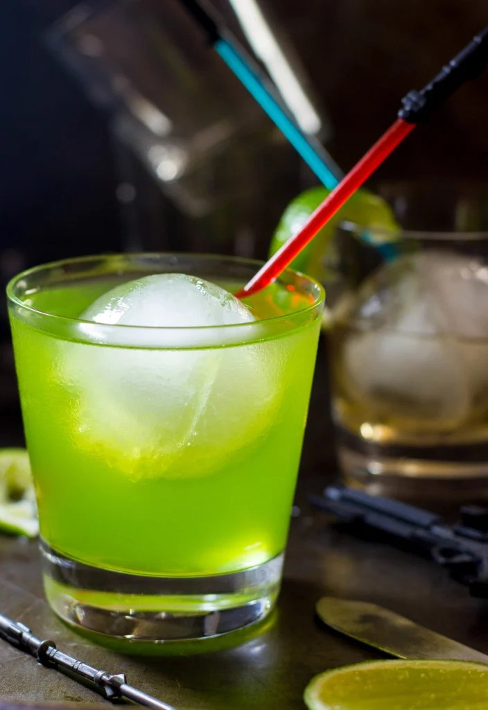 Green drink in glass