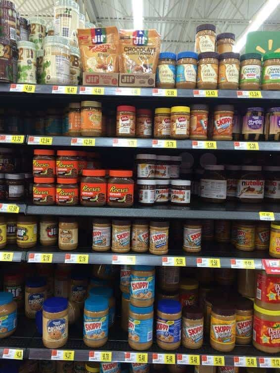 peanut butter shelf in WalMart
