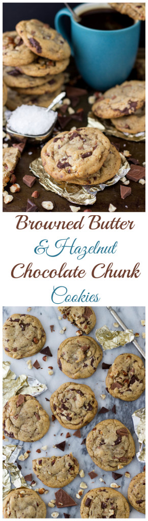 Browned Butter and Hazelnut Chocolate Chunk Cookies by SugarSpunRun