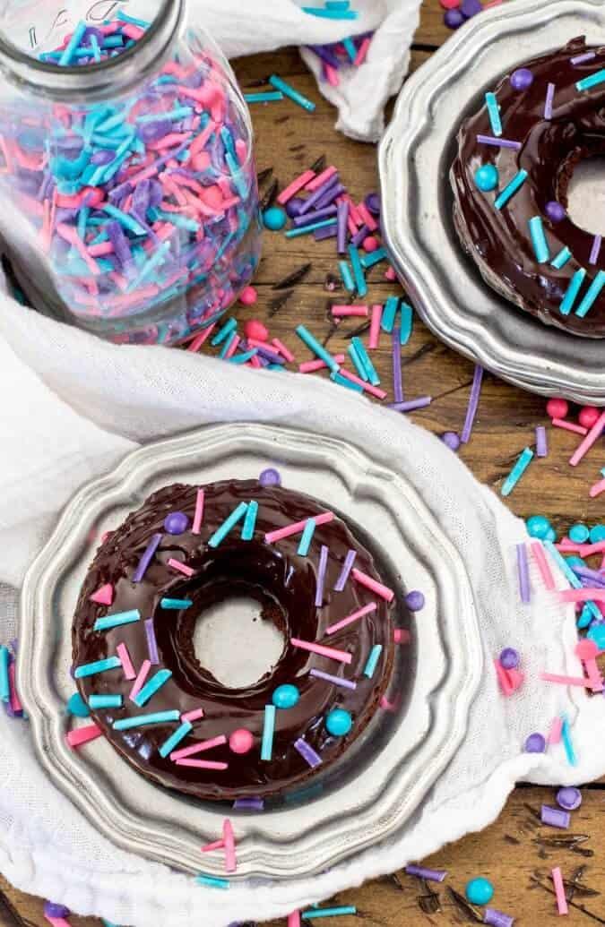 Chocolate glazed Donut on plate