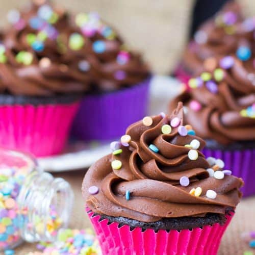Chocolate cupcakes with chocolate frosting, topped with sprinkles