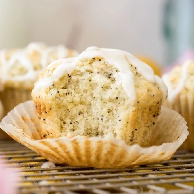fluffy interior of lemon poppy seed muffin