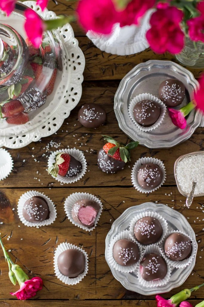 Chocolate Covered Strawberry Buttercream Candy Recipe -- SugarSpunRun