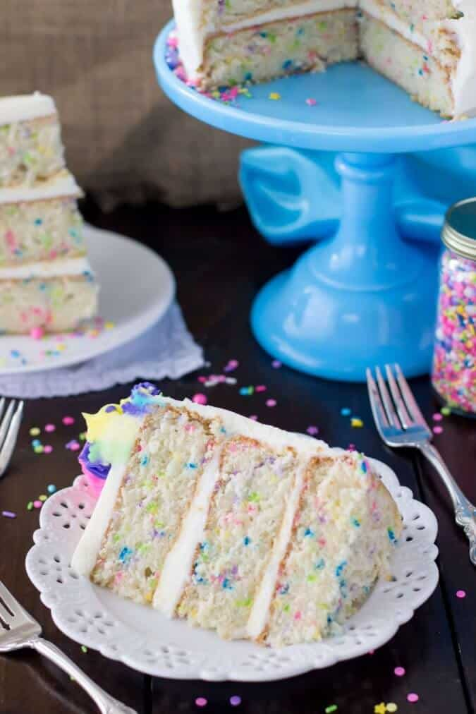 Fluffy slice of Funfetti cake from scratch || Sugar Spun Run