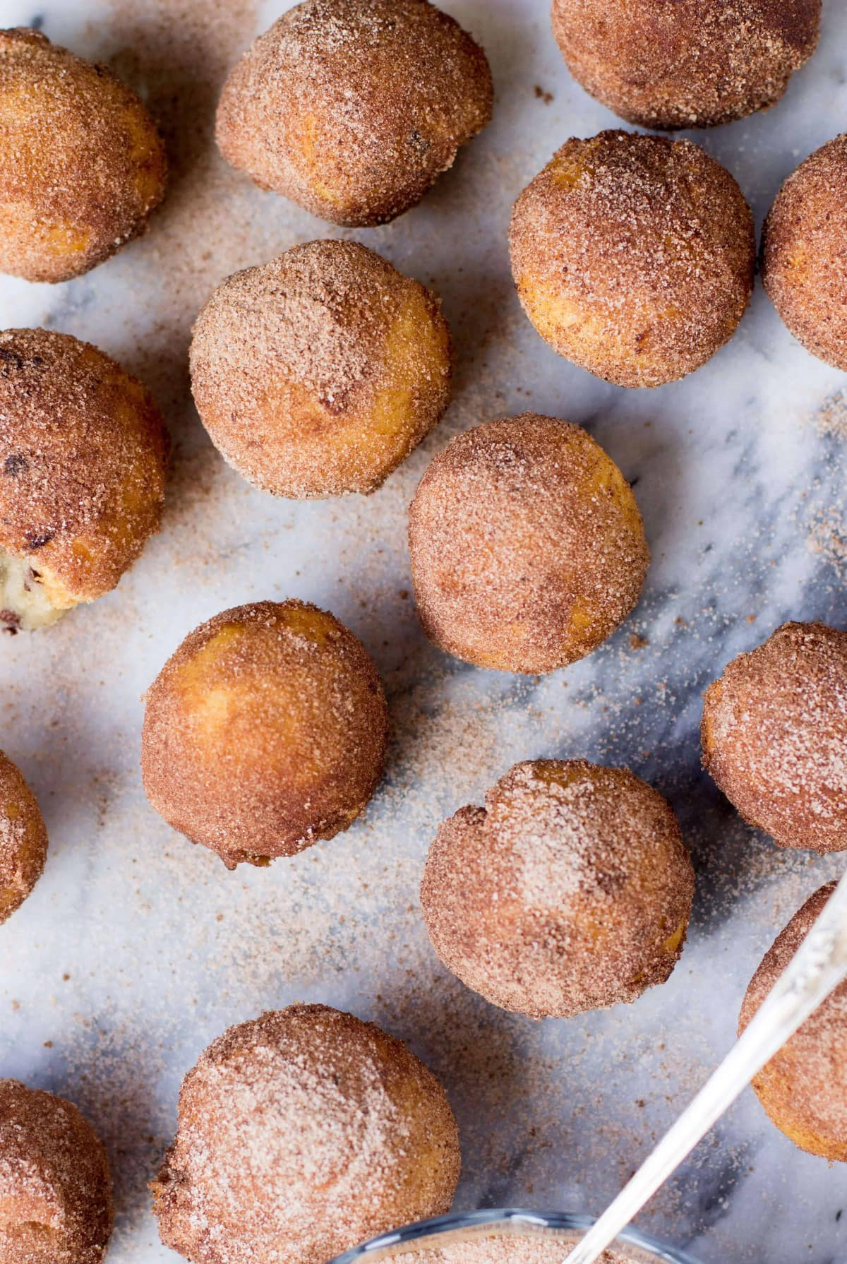 Cookie Dough Stuffed (NO YEAST) Donut Holes rolled in sea-salted chocolate sugar -- OMG!