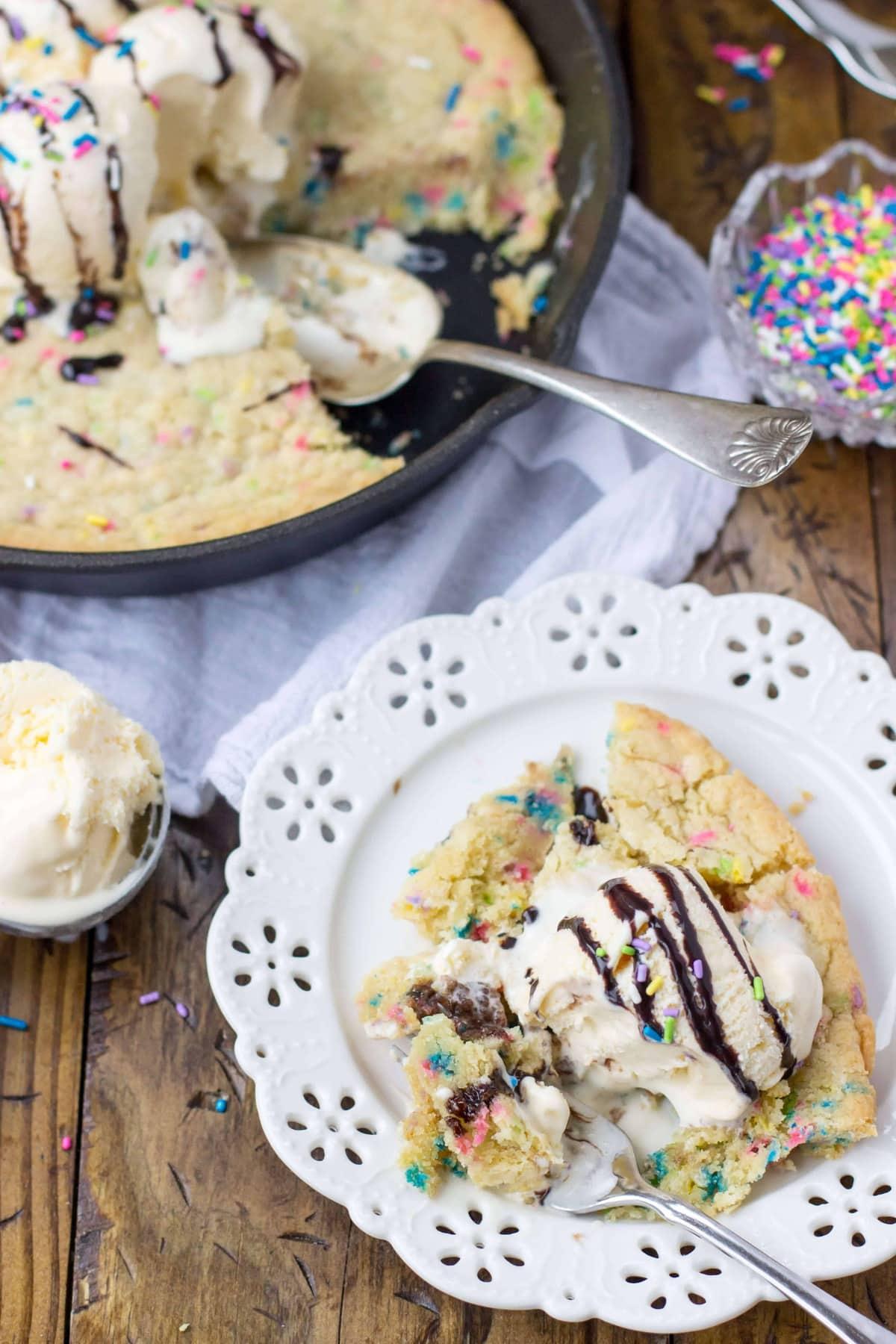 Funfetti Skillet Cookie -- from SugarSpunRun