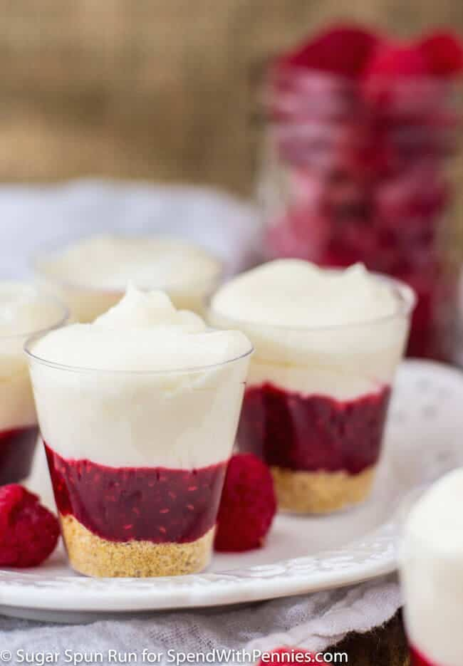 No-Bake Raspberry Cheesecake Layered Dessert Shooters
