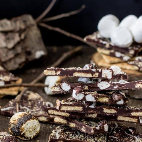 Pieces of s'mores bark stacked on each other