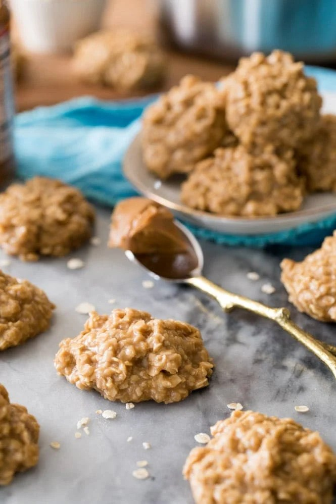 Cookie Butter No bake cookies being served on marble board
