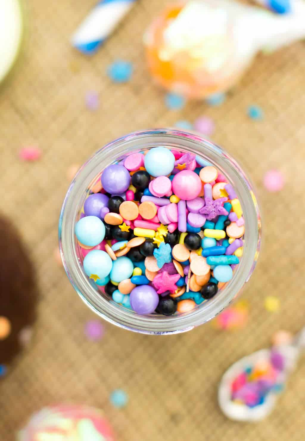 A jar of colorful sprinkles