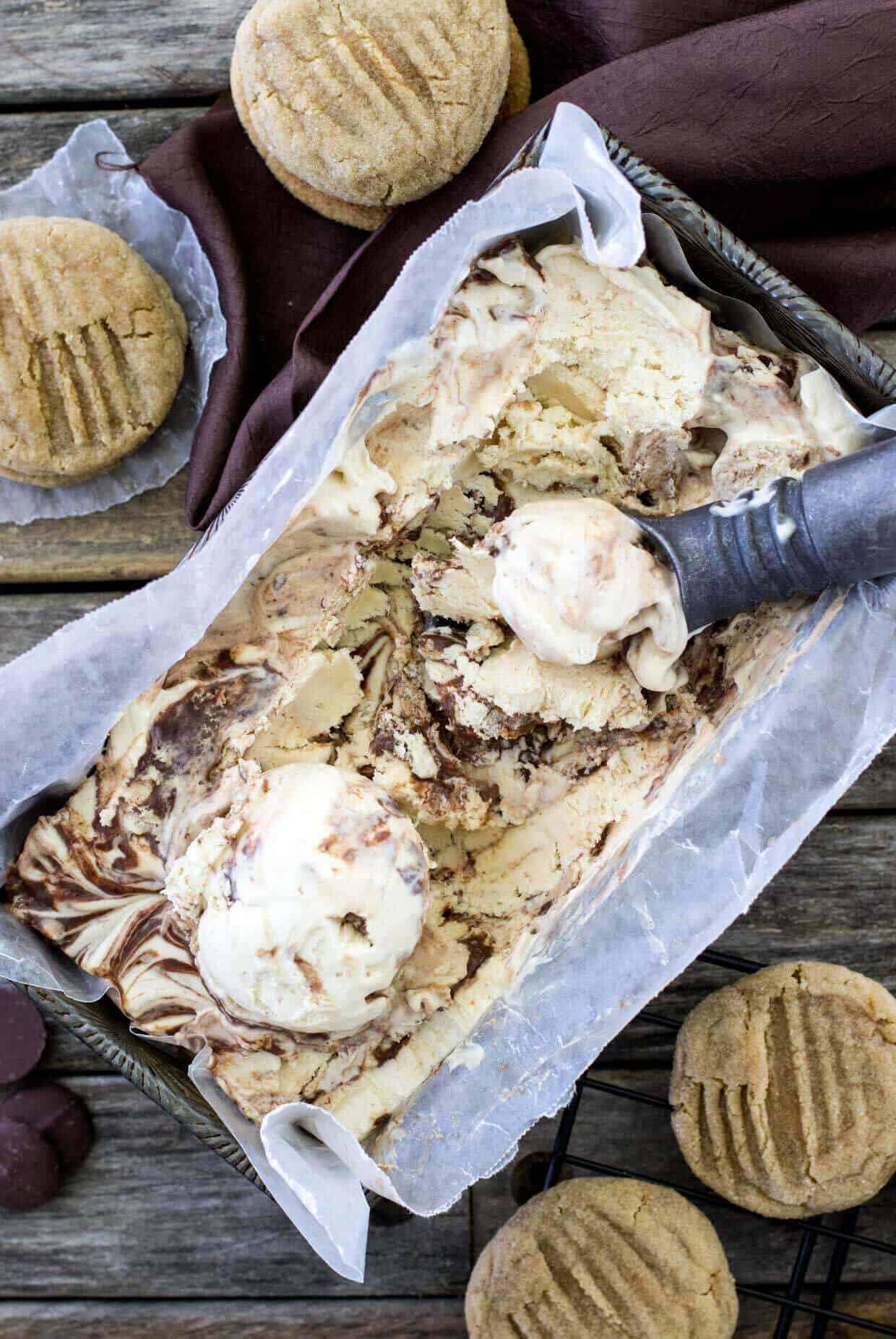 Peanut Butter Chocolate Swirl Ice Cream Cookie Sandwiches