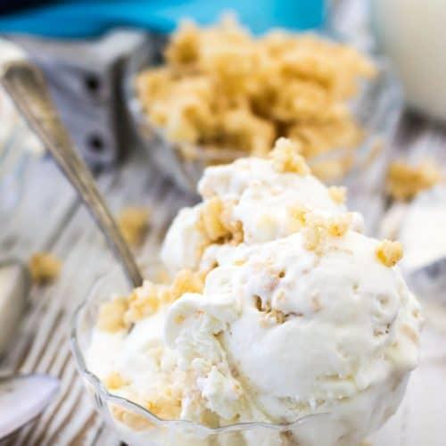 Rice Krispie treat ice cream in a glass bowl