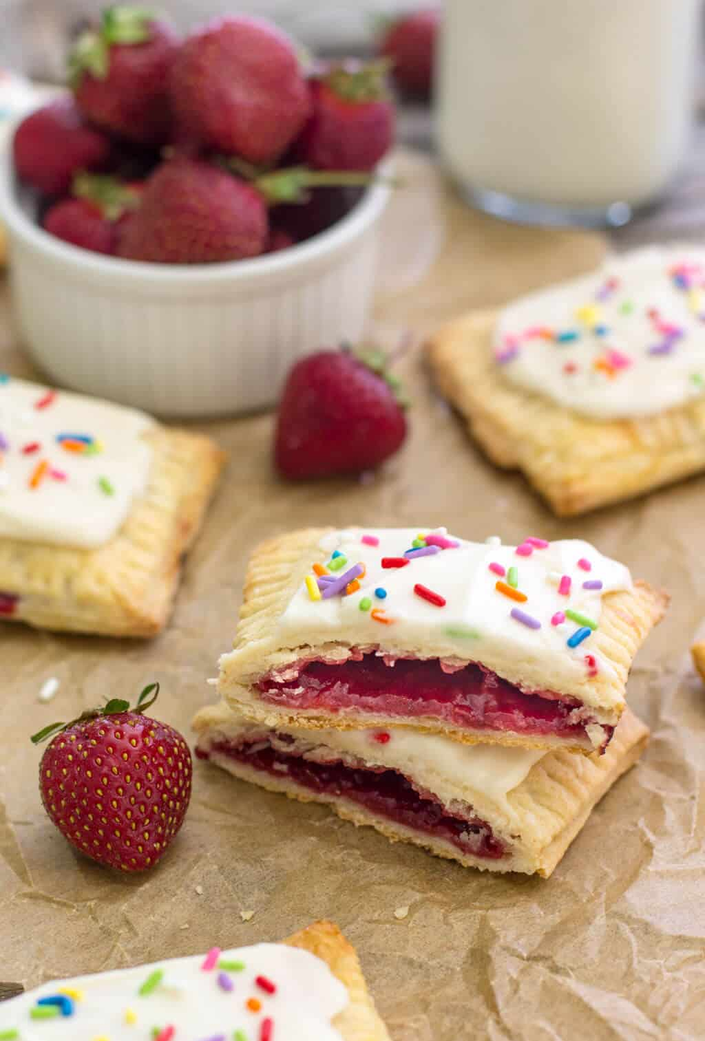 Homemade Strawberry Pop Tart cut in half to show strawberry center
