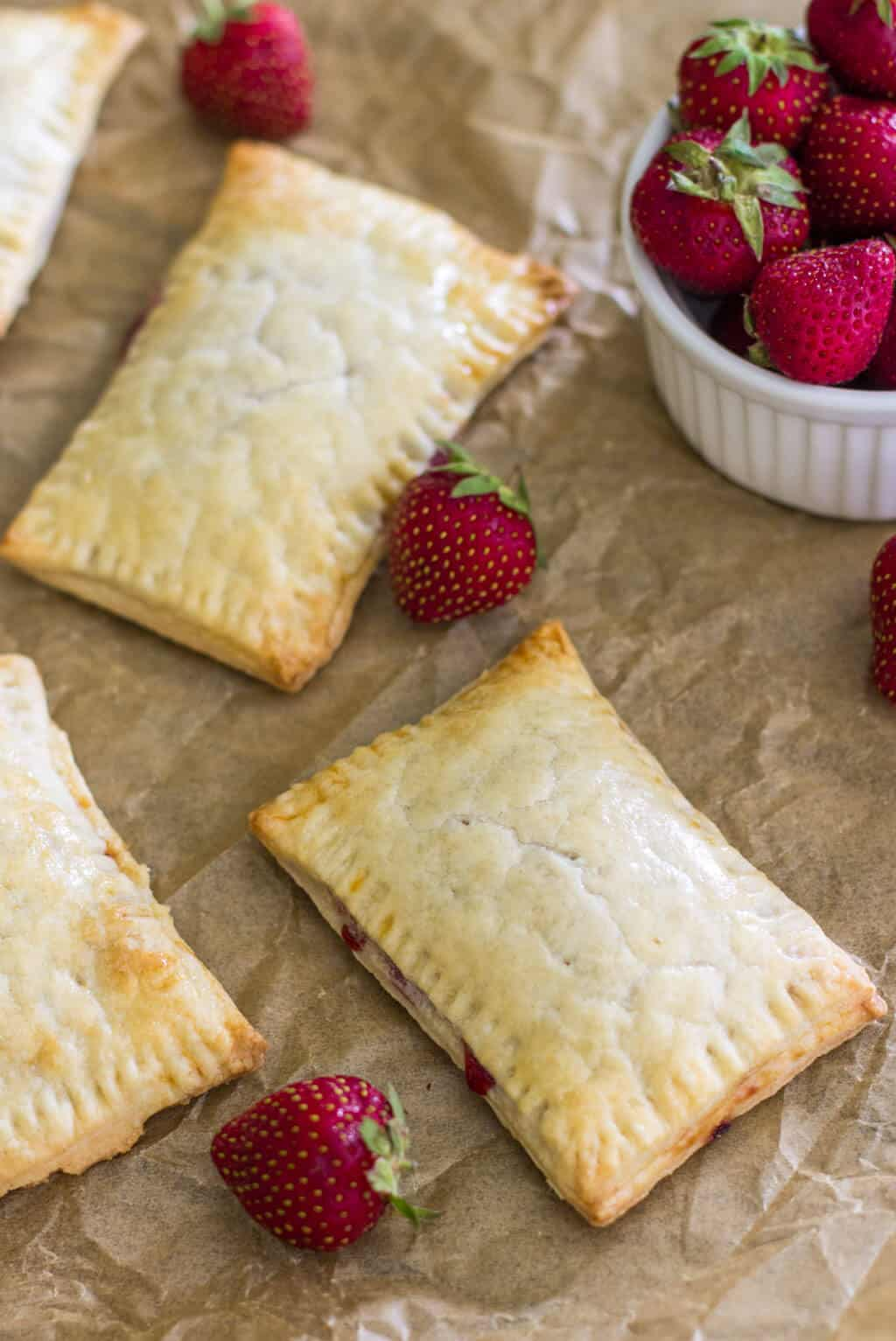 Strawberry Pop Tarts before being iced
