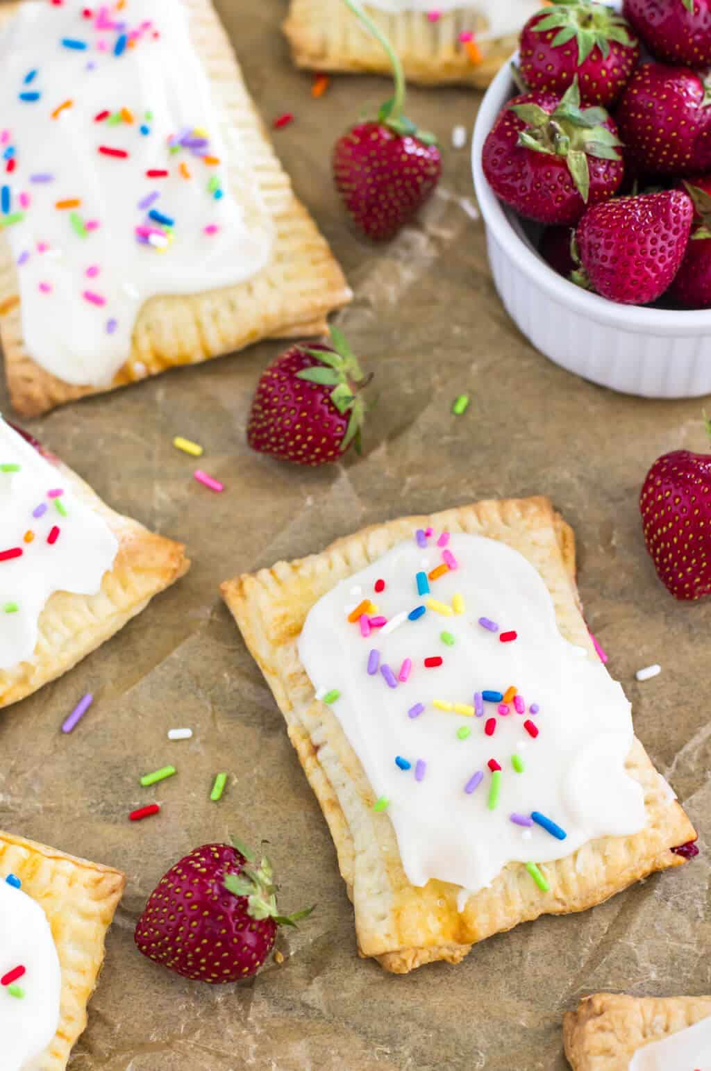 Homemade Strawberry Pop Tarts on parchment