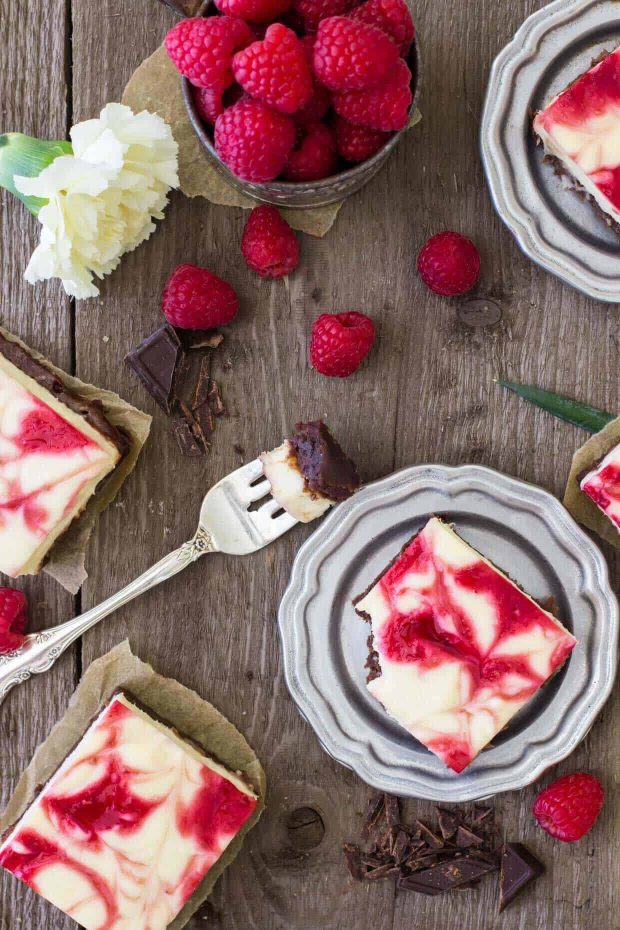 overhead view of Raspberry Cheesecake Brownies