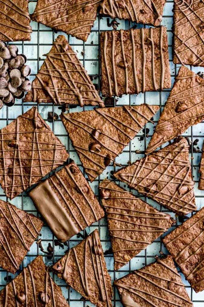 Overhead of chocolate covered brownie bark