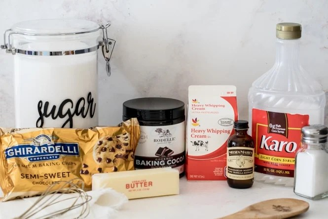 Ingredients for hot fudge chocolate sauce