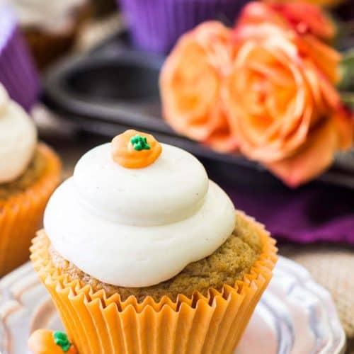 Pumpkin cupcake on silver plate