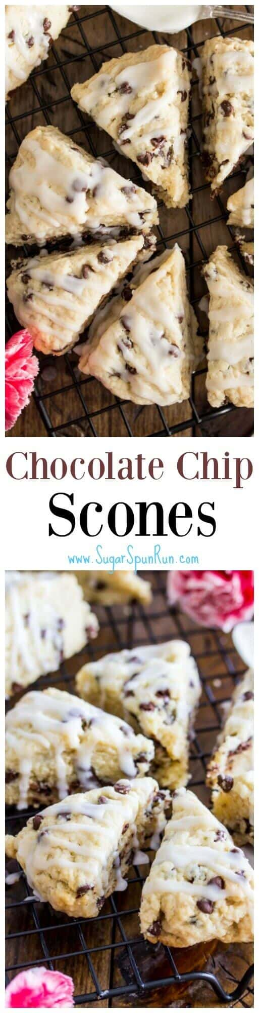 Mini Chocolate Chip Scones -- these are so good! || Sugar Spun Run