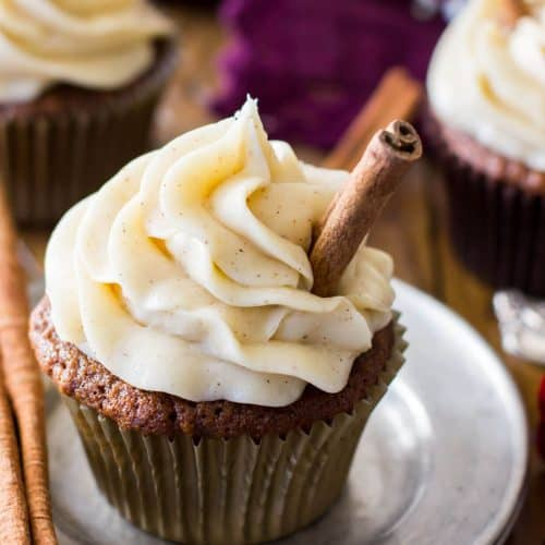 Frosted gingerbread cupcake