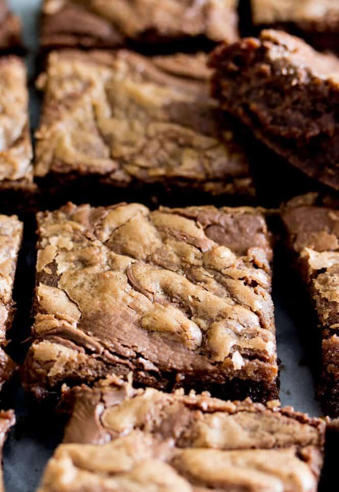 sliced nutella brownies
