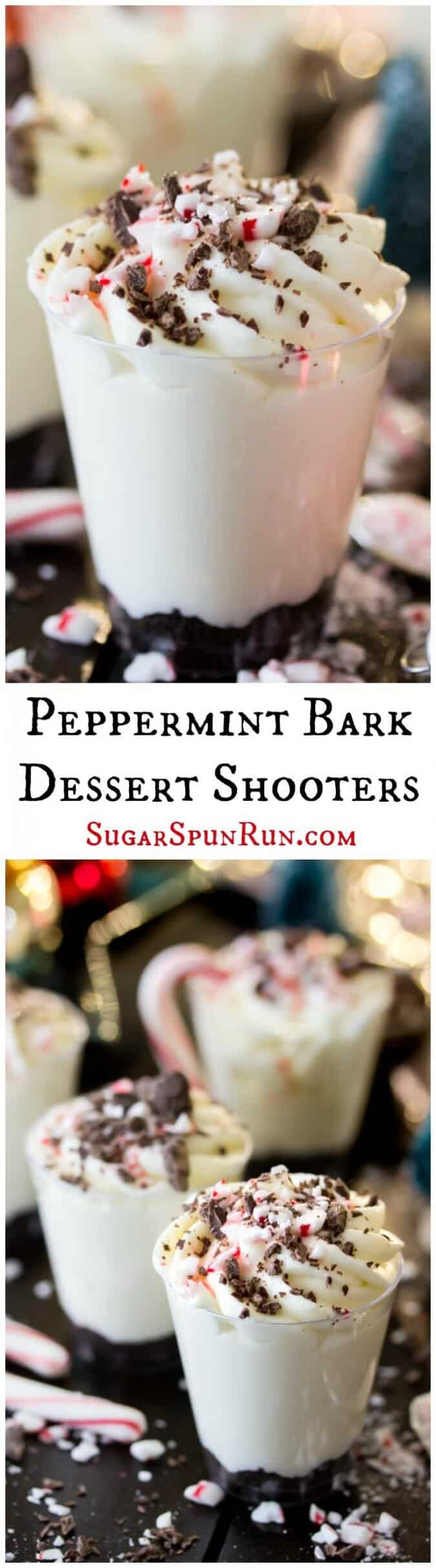 Peppermint Bark Dessert Shooters || Sugar Spun Run