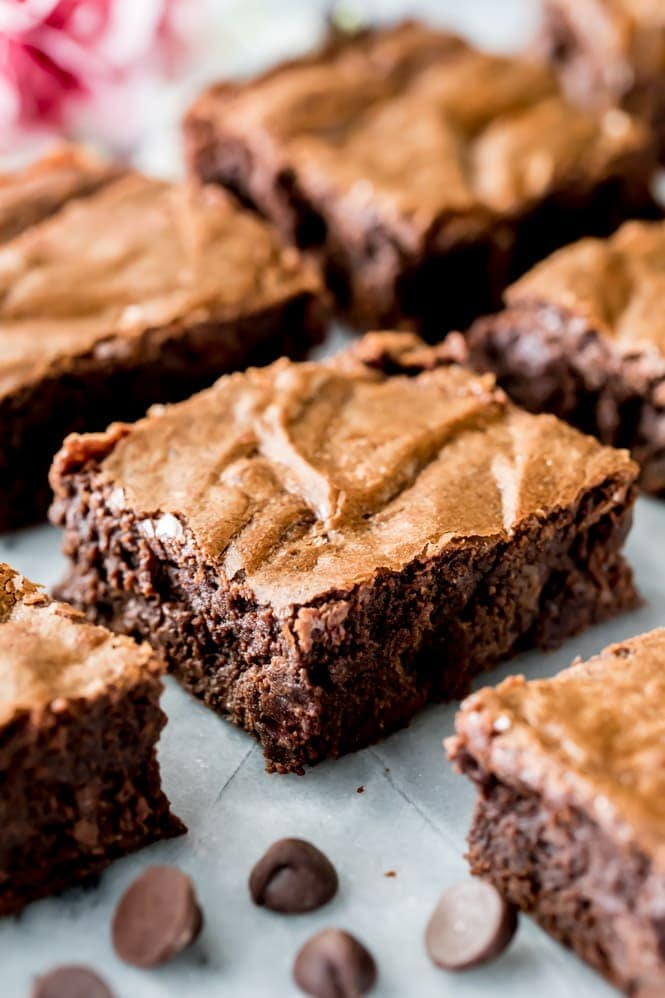 Fudgy brownies on marble slab from the best homemade brownie recipe