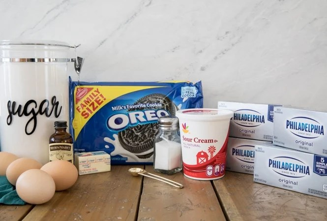 Ingredients for Oreo Cheesecake Bars
