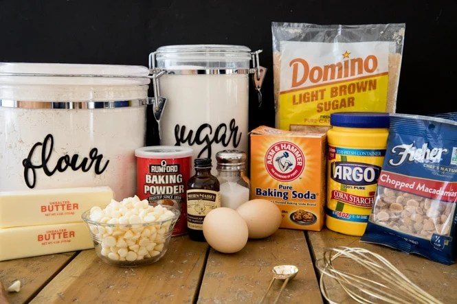 Ingredients needed for cookie recipe