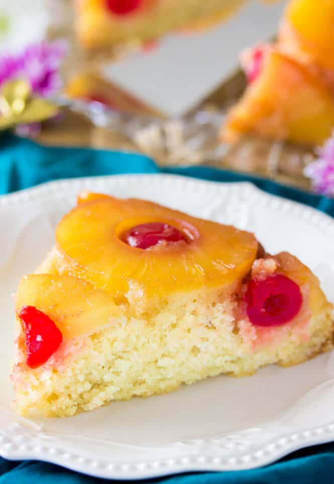 Pineapple Upside Down Cake slice on a white plate